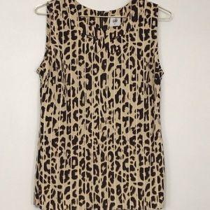 CAbi small sleeveless tank blouse animal print